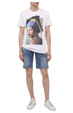 Мужская хлопковая футболка DIEGO VENTURINO белого цвета, арт. SS21-DV TS0 D0R | Фото 2 (Материал внешний: Хлопок; Принт: С принтом; Стили: Кэжуэл; Рукава: Короткие; Длина (для топов): Стандартные)