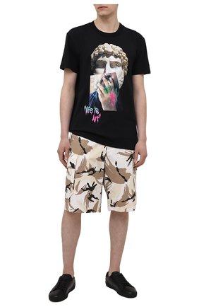 Мужская хлопковая футболка DIEGO VENTURINO черного цвета, арт. SS21-DV TS0 LIA | Фото 2