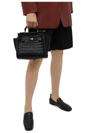 Женская сумка sicily 62 small DOLCE & GABBANA черного цвета, арт. BB6960/A0398   Фото 2 (Размер: small; Сумки-технические: Сумки top-handle, Сумки через плечо; Ремень/цепочка: На ремешке; Материал: Натуральная кожа)