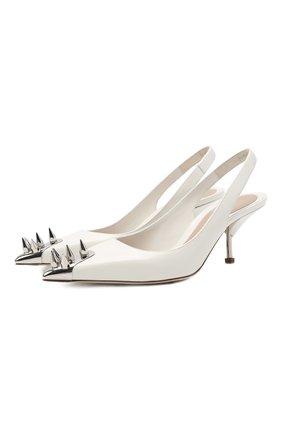 Женские кожаные туфли ALEXANDER MCQUEEN белого цвета, арт. 651709/WHV7B | Фото 1 (Материал внутренний: Натуральная кожа; Подошва: Плоская; Каблук тип: Шпилька; Каблук высота: Средний)