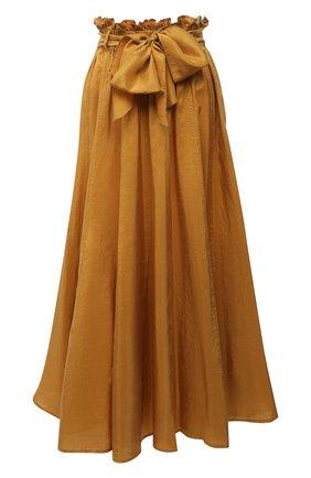 Женская шелковая юбка FORTE_FORTE горчичного цвета, арт. 8231 | Фото 1