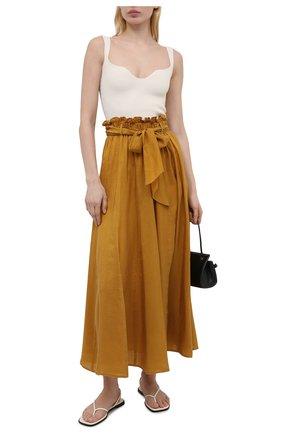 Женская шелковая юбка FORTE_FORTE горчичного цвета, арт. 8231 | Фото 2
