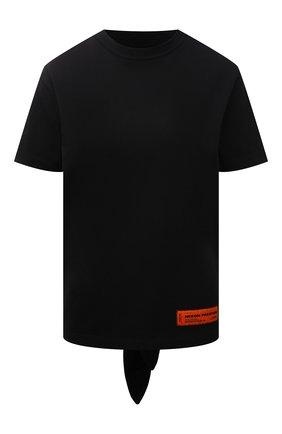 Женская хлопковая футболка HERON PRESTON черного цвета, арт. HWAA026R21JER0011001   Фото 1