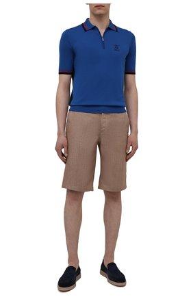 Мужские льняные шорты ZILLI SPORT коричневого цвета, арт. M0V-D0176-LIN01/R001   Фото 2