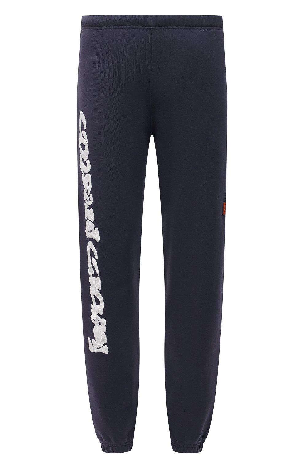 Мужские хлопковые джоггеры HERON PRESTON синего цвета, арт. HMCH014S21JER0010701 | Фото 1 (Мужское Кросс-КТ: Брюки-трикотаж, Джоггеры-одежда; Длина (брюки, джинсы): Стандартные; Материал внешний: Хлопок; Стили: Спорт-шик; Силуэт М (брюки): Джоггеры)