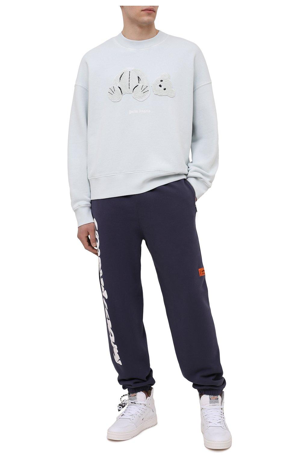 Мужские хлопковые джоггеры HERON PRESTON синего цвета, арт. HMCH014S21JER0010701 | Фото 2 (Мужское Кросс-КТ: Брюки-трикотаж, Джоггеры-одежда; Длина (брюки, джинсы): Стандартные; Материал внешний: Хлопок; Стили: Спорт-шик; Силуэт М (брюки): Джоггеры)
