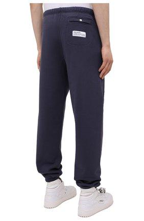 Мужские хлопковые джоггеры HERON PRESTON синего цвета, арт. HMCH014S21JER0010701 | Фото 4 (Мужское Кросс-КТ: Брюки-трикотаж, Джоггеры-одежда; Длина (брюки, джинсы): Стандартные; Материал внешний: Хлопок; Стили: Спорт-шик; Силуэт М (брюки): Джоггеры)