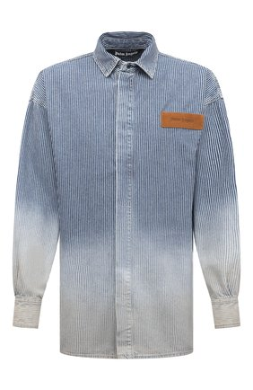 Мужская джинсовая рубашка PALM ANGELS темно-синего цвета, арт. PMYD010S21DEN0014560 | Фото 1