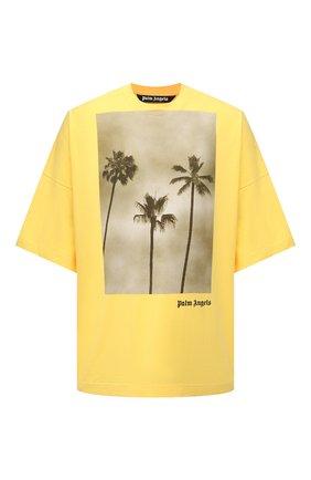 Мужская хлопковая футболка PALM ANGELS желтого цвета, арт. PMAA041S21JER0011810 | Фото 1