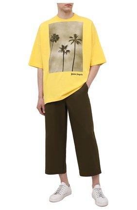 Мужская хлопковая футболка PALM ANGELS желтого цвета, арт. PMAA041S21JER0011810 | Фото 2