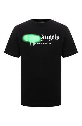 Мужская хлопковая футболка PALM ANGELS черного цвета, арт. PMAA001S21JER0301070 | Фото 1