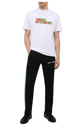 Мужская хлопковая футболка PALM ANGELS белого цвета, арт. PMAA001S21JER0070118 | Фото 2