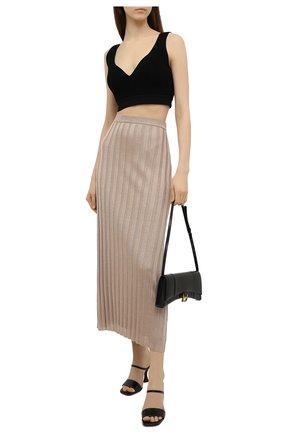 Женская плиссированная юбка TOTÊME бежевого цвета, арт. 212-322-760 | Фото 2
