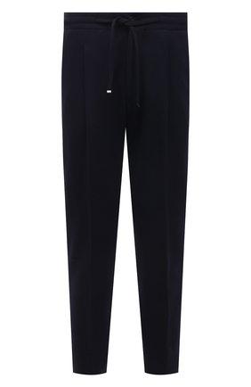 Мужские брюки CORNELIANI темно-синего цвета, арт. 874L11-1118814/00 | Фото 1 (Материал внешний: Синтетический материал, Хлопок; Мужское Кросс-КТ: Брюки-трикотаж; Случай: Повседневный; Стили: Кэжуэл; Длина (брюки, джинсы): Стандартные)