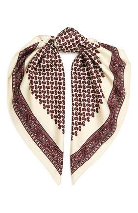 Женский шелковый платок SAINT LAURENT бордового цвета, арт. 660941/3Y001 | Фото 1