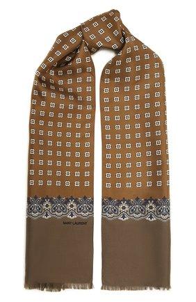 Женский шелковый шарф SAINT LAURENT хаки цвета, арт. 661792/3Y001 | Фото 1