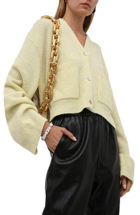 Женский браслет BOTTEGA VENETA белого цвета, арт. 657409/VB0BN | Фото 2 (Материал: Серебро, Резина)