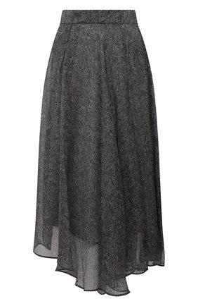 Женская шелковая юбка BRUNELLO CUCINELLI серого цвета, арт. MPB33G3135   Фото 1