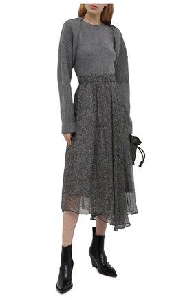Женская шелковая юбка BRUNELLO CUCINELLI серого цвета, арт. MPB33G3135   Фото 2