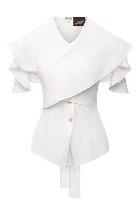 Женская шелковая блузка loewe x paula's ibiza LOEWE белого цвета, арт. S616Y06X02 | Фото 1 (Женское Кросс-КТ: Блуза-одежда; Рукава: Короткие; Длина (для топов): Стандартные; Стили: Романтичный; Принт: Без принта; Материал внешний: Шелк)