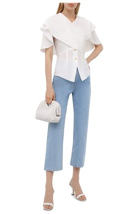 Женская шелковая блузка loewe x paula's ibiza LOEWE белого цвета, арт. S616Y06X02 | Фото 2 (Женское Кросс-КТ: Блуза-одежда; Рукава: Короткие; Длина (для топов): Стандартные; Стили: Романтичный; Принт: Без принта; Материал внешний: Шелк)