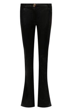 Женские кожаные брюки BALMAIN черного цвета, арт. VF0QI000/L110   Фото 1