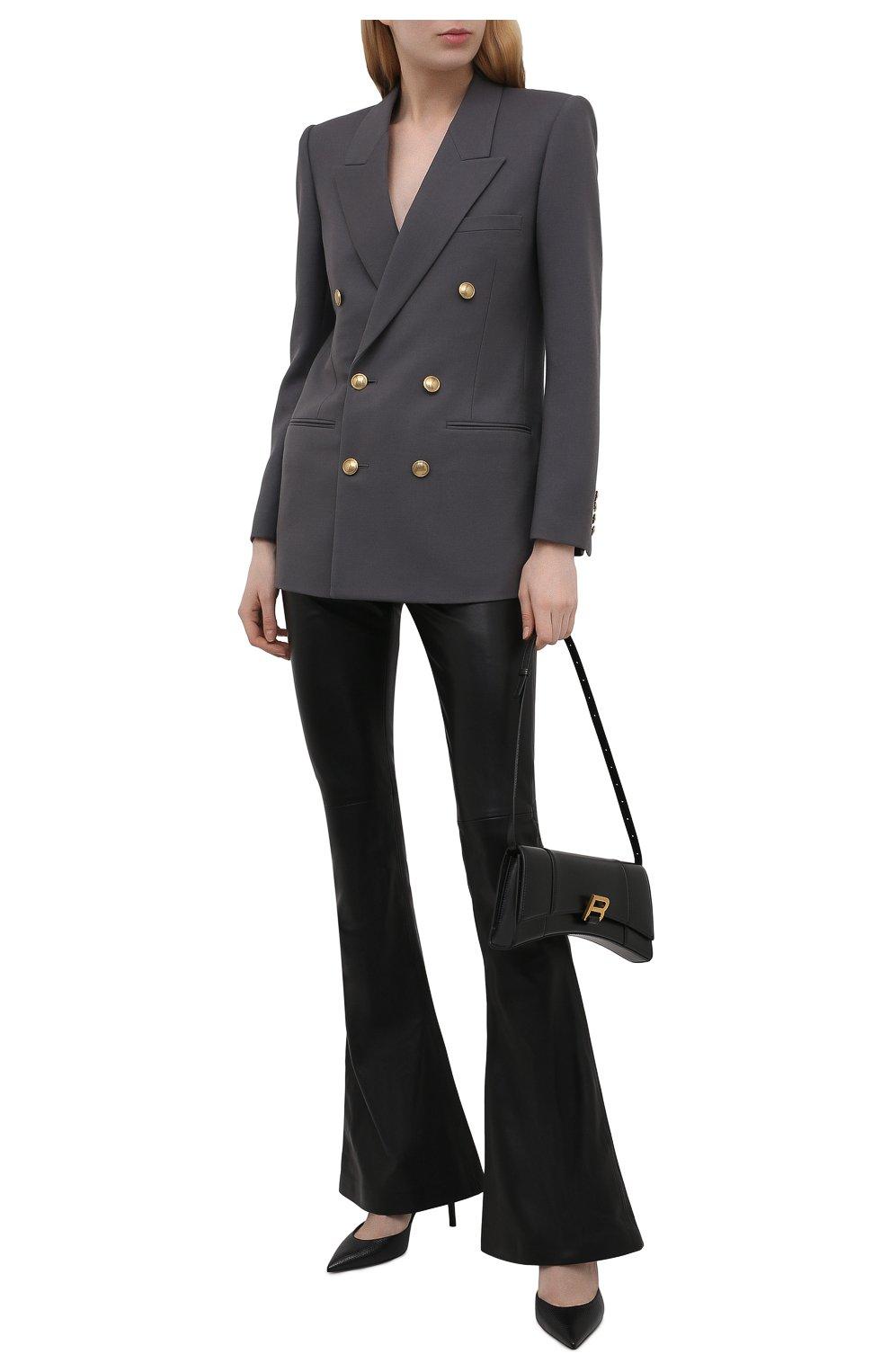 Женские кожаные брюки BALMAIN черного цвета, арт. VF0QI000/L110   Фото 2