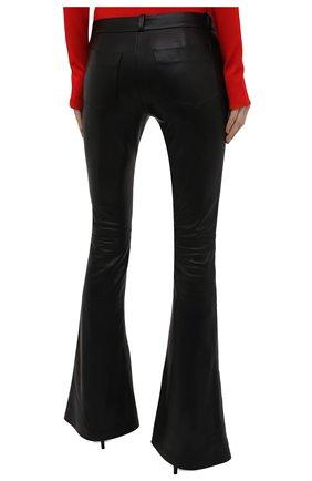 Женские кожаные брюки BALMAIN черного цвета, арт. VF0QI000/L110   Фото 4