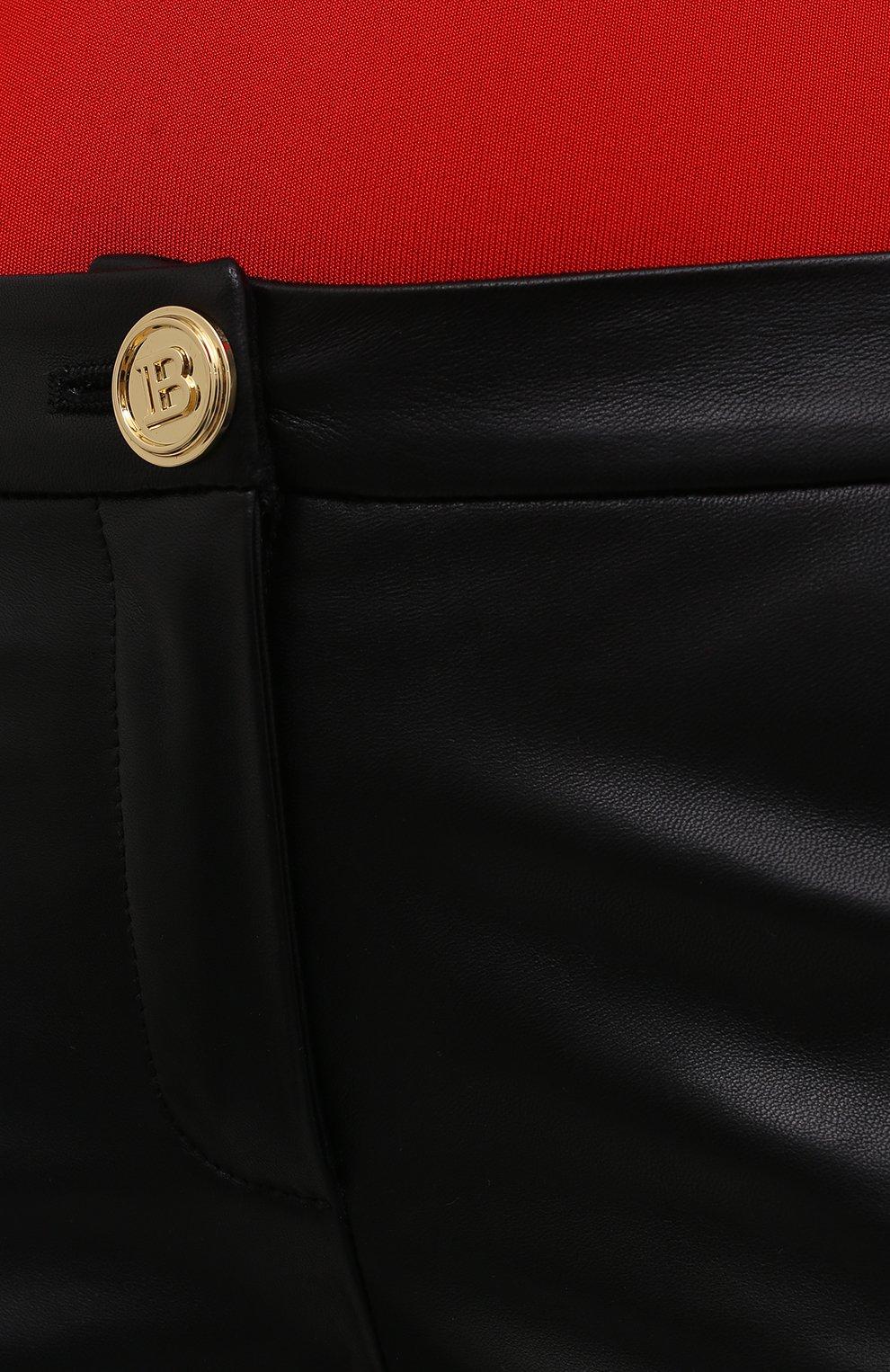 Женские кожаные брюки BALMAIN черного цвета, арт. VF0QI000/L110   Фото 5