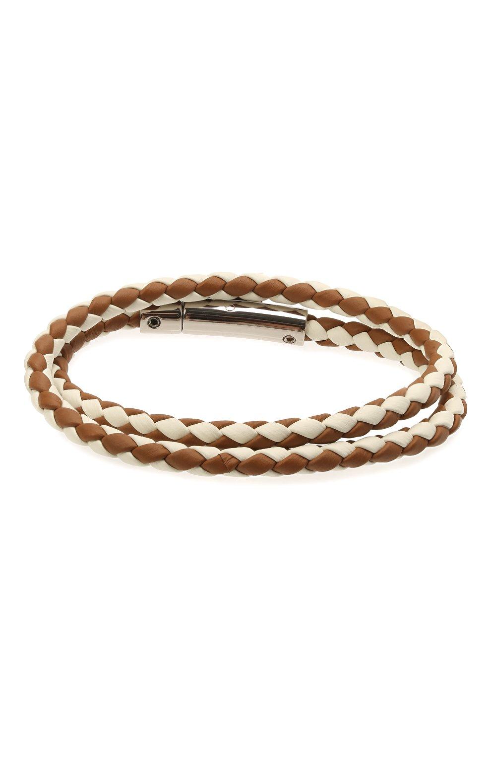 Мужской кожаный браслет TOD'S коричневого цвета, арт. XEMB1900200FLR   Фото 2 (Материал: Кожа)