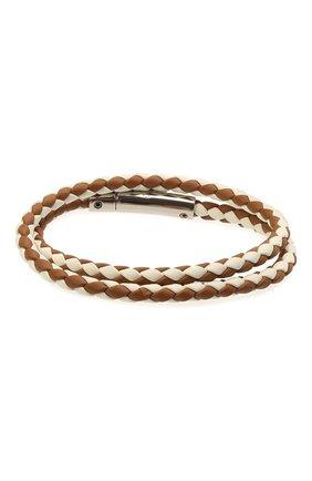 Мужской кожаный браслет TOD'S коричневого цвета, арт. XEMB1900200FLR | Фото 2 (Материал: Кожа)