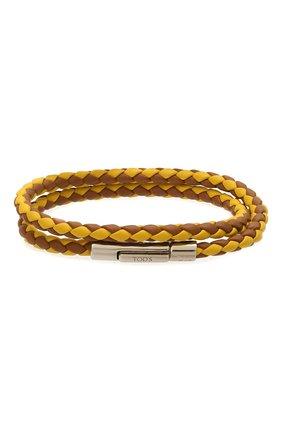 Мужской кожаный браслет TOD'S коричневого цвета, арт. XEMB1900200FLR   Фото 1