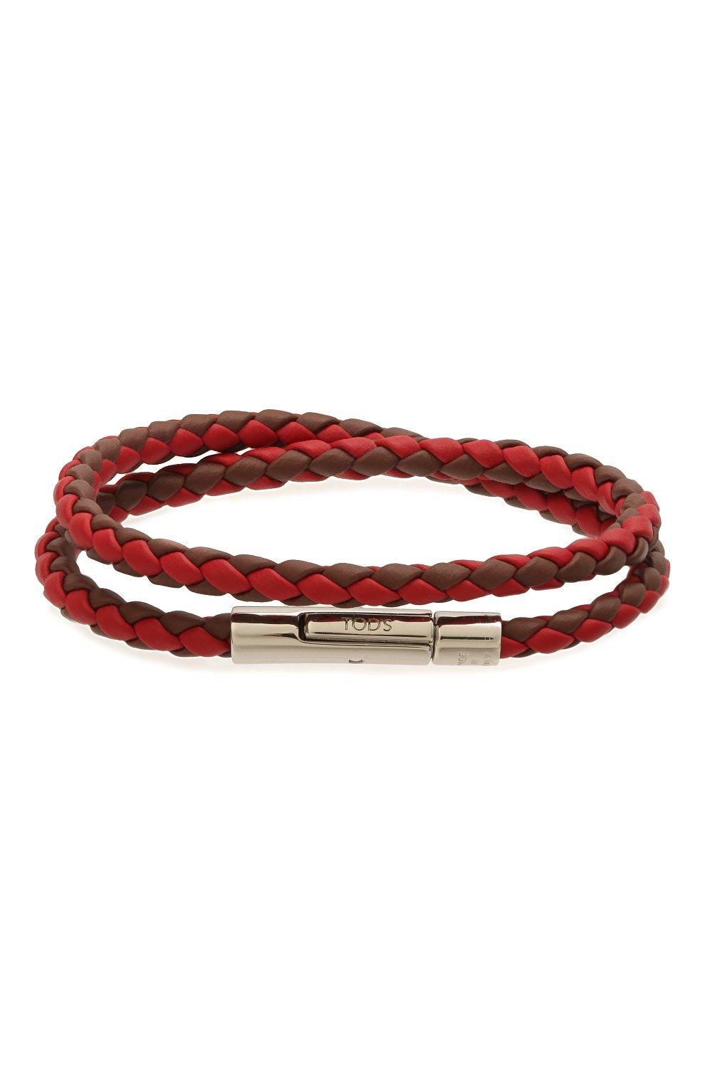 Мужской кожаный браслет TOD'S красного цвета, арт. XEMB1900200FLR | Фото 1 (Материал: Кожа)