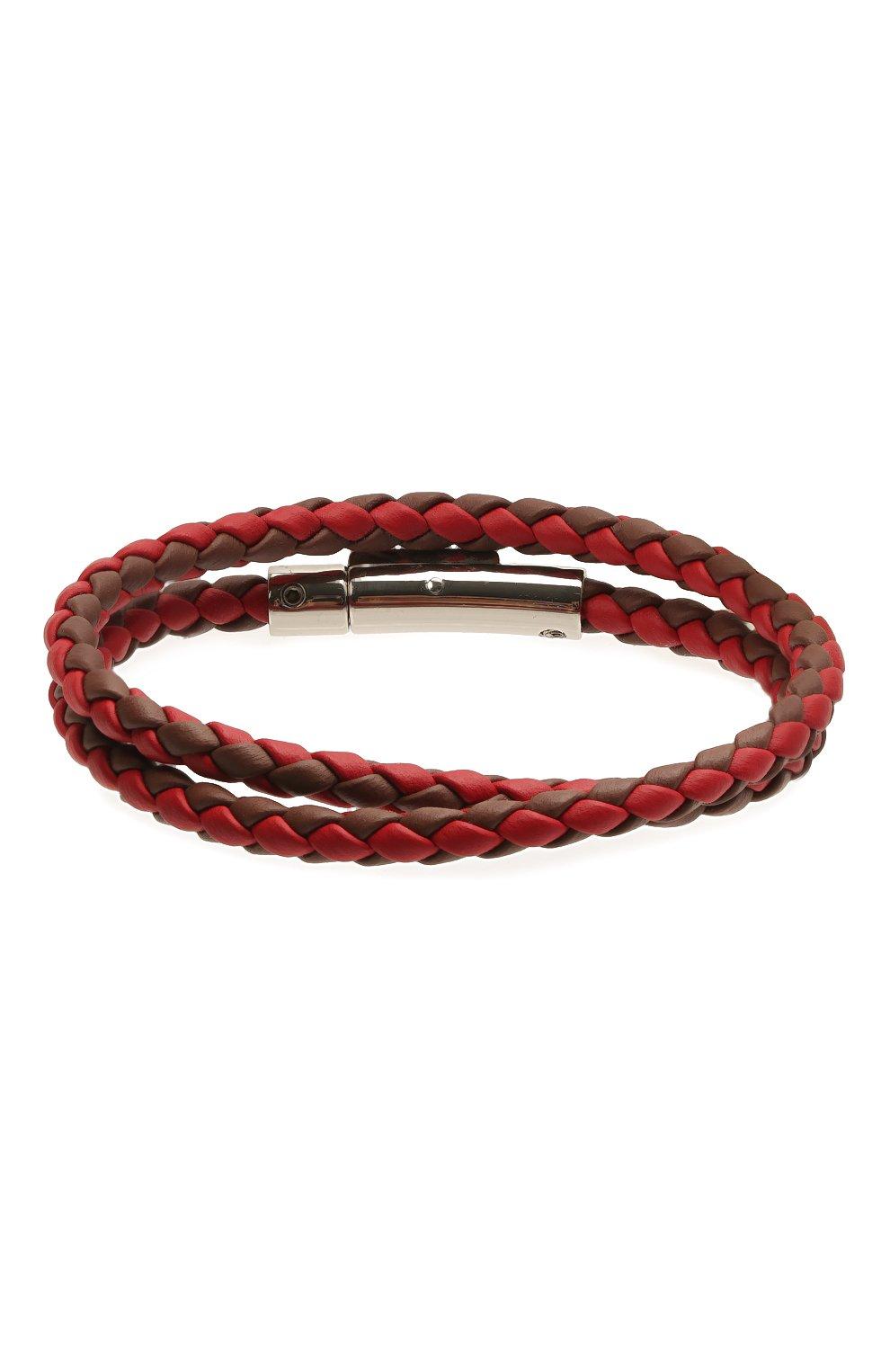 Мужской кожаный браслет TOD'S красного цвета, арт. XEMB1900200FLR | Фото 2 (Материал: Кожа)