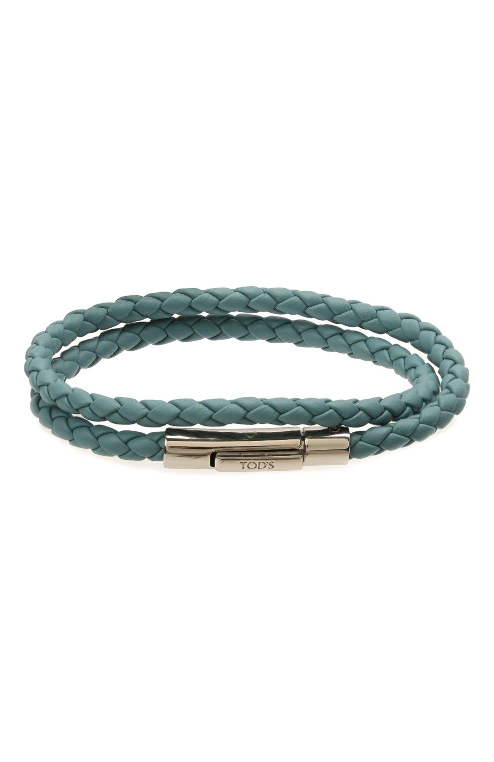 Мужской кожаный браслет TOD'S голубого цвета, арт. XEMB1900200FLR | Фото 1 (Материал: Кожа)
