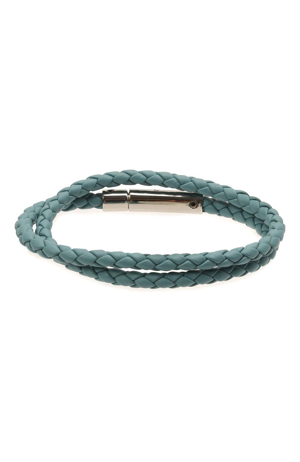 Мужской кожаный браслет TOD'S голубого цвета, арт. XEMB1900200FLR | Фото 2 (Материал: Кожа)