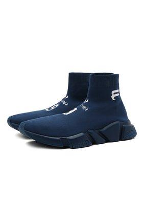Мужские текстильные кроссовки speed BALENCIAGA синего цвета, арт. 645734/W2DBU | Фото 1