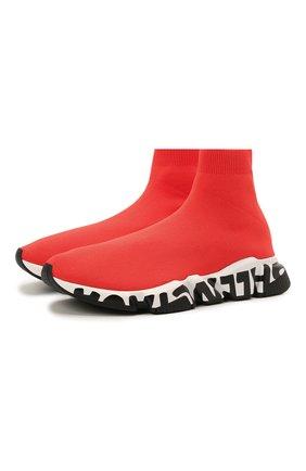 Мужские текстильные кроссовки speed BALENCIAGA красного цвета, арт. 645334/W2DB7 | Фото 1 (Стили: Гранж; Материал внешний: Текстиль; Подошва: Массивная; Материал внутренний: Текстиль)