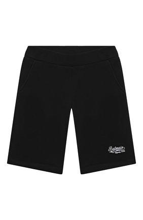 Детские хлопковые шорты BALMAIN черного цвета, арт. 6O6739   Фото 1