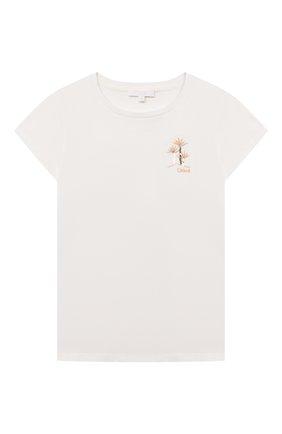 Детская хлопковая футболка CHLOÉ белого цвета, арт. C15B83 | Фото 1