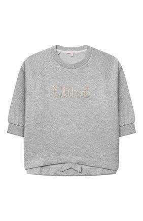 Детский хлопковый свитшот CHLOÉ серого цвета, арт. C15B79 | Фото 1