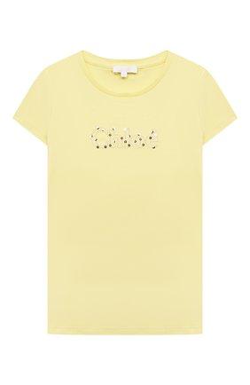Детская хлопковая футболка CHLOÉ желтого цвета, арт. C15B87 | Фото 1