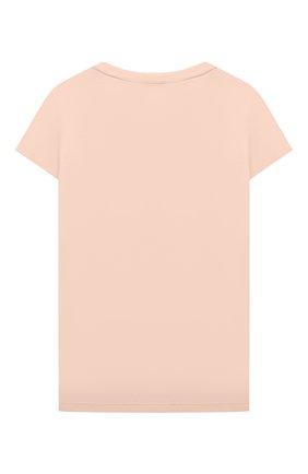 Детская хлопковая футболка CHLOÉ бежевого цвета, арт. C15B92 | Фото 2