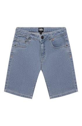 Детские джинсовые шорты KARL LAGERFELD KIDS голубого цвета, арт. Z24111   Фото 1