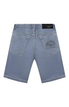 Детские джинсовые шорты KARL LAGERFELD KIDS голубого цвета, арт. Z24111   Фото 2