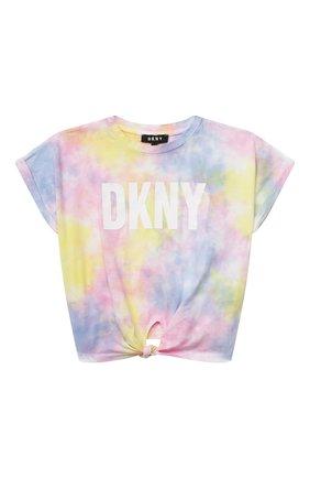 Детская хлопковая футболка DKNY разноцветного цвета, арт. D35R34 | Фото 1