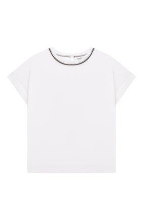 Детская хлопковая футболка BRUNELLO CUCINELLI белого цвета, арт. B0A45T030C | Фото 1
