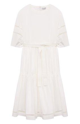 Детское хлопковое платье BRUNELLO CUCINELLI белого цвета, арт. BH127A257C | Фото 1