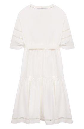Детское хлопковое платье BRUNELLO CUCINELLI белого цвета, арт. BH127A257C | Фото 2