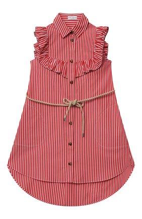 Детское хлопковое платье BRUNELLO CUCINELLI красного цвета, арт. BH701A003A   Фото 1 (Материал внешний: Хлопок; Рукава: Короткие; Случай: Повседневный; Девочки Кросс-КТ: Платье-одежда; Ростовка одежда: 4 года   104 см, 6 лет   116 см)